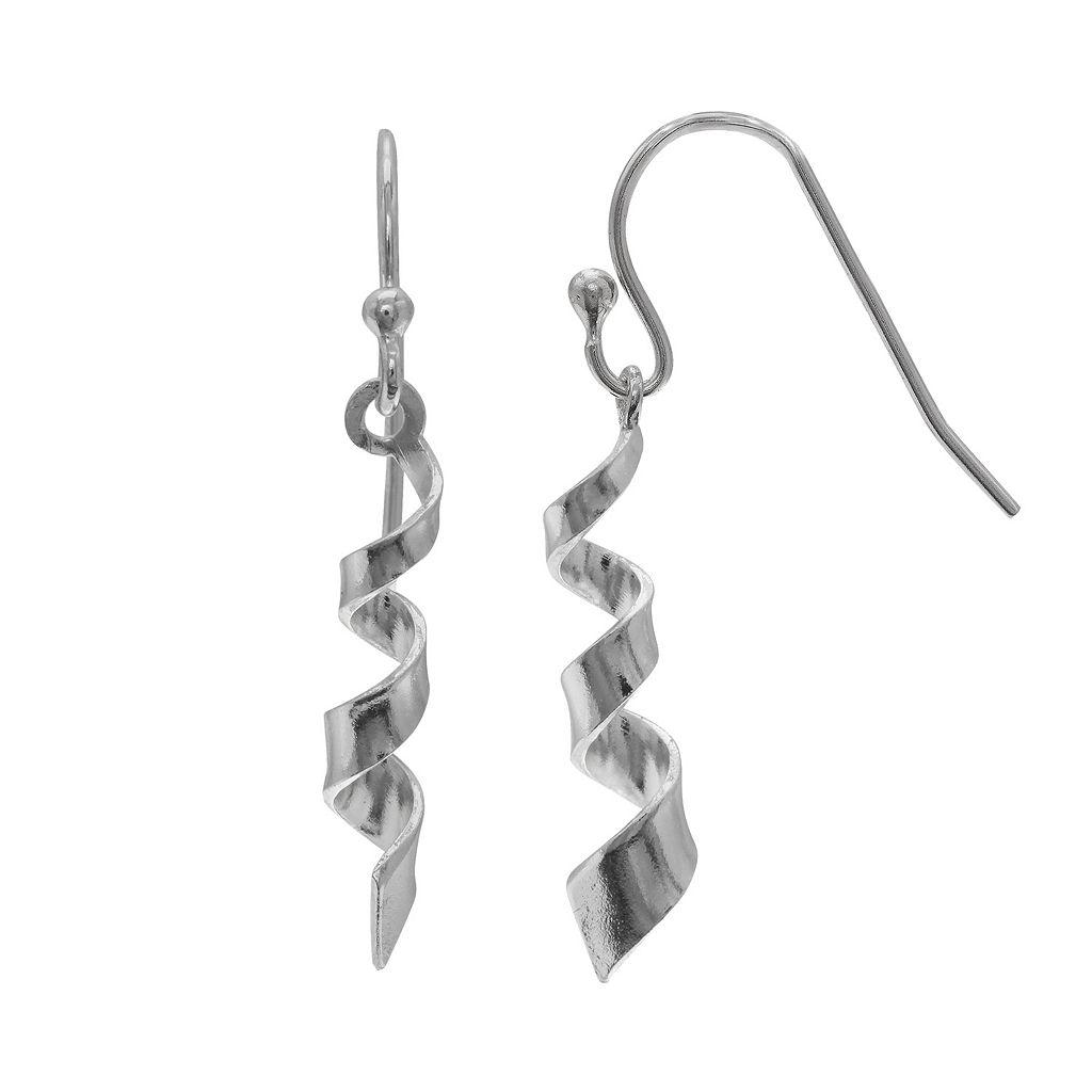 PRIMROSE Sterling Silver Swirl Drop Earrings