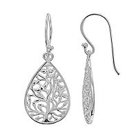PRIMROSE Sterling Silver Family Tree Teardrop Earrings