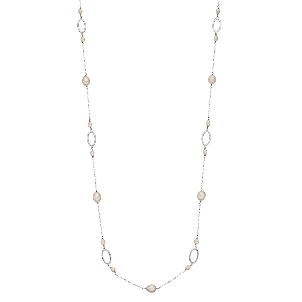 Sterling Silver Freshwater Cultured Pearl Station Long Necklace