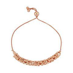 Sterling Silver Byzantine Link Bolo Bracelet
