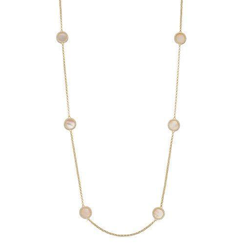 14k Gold Over Silver Mother-of-Pearl & Cubic Zirconia Halo Long Necklace