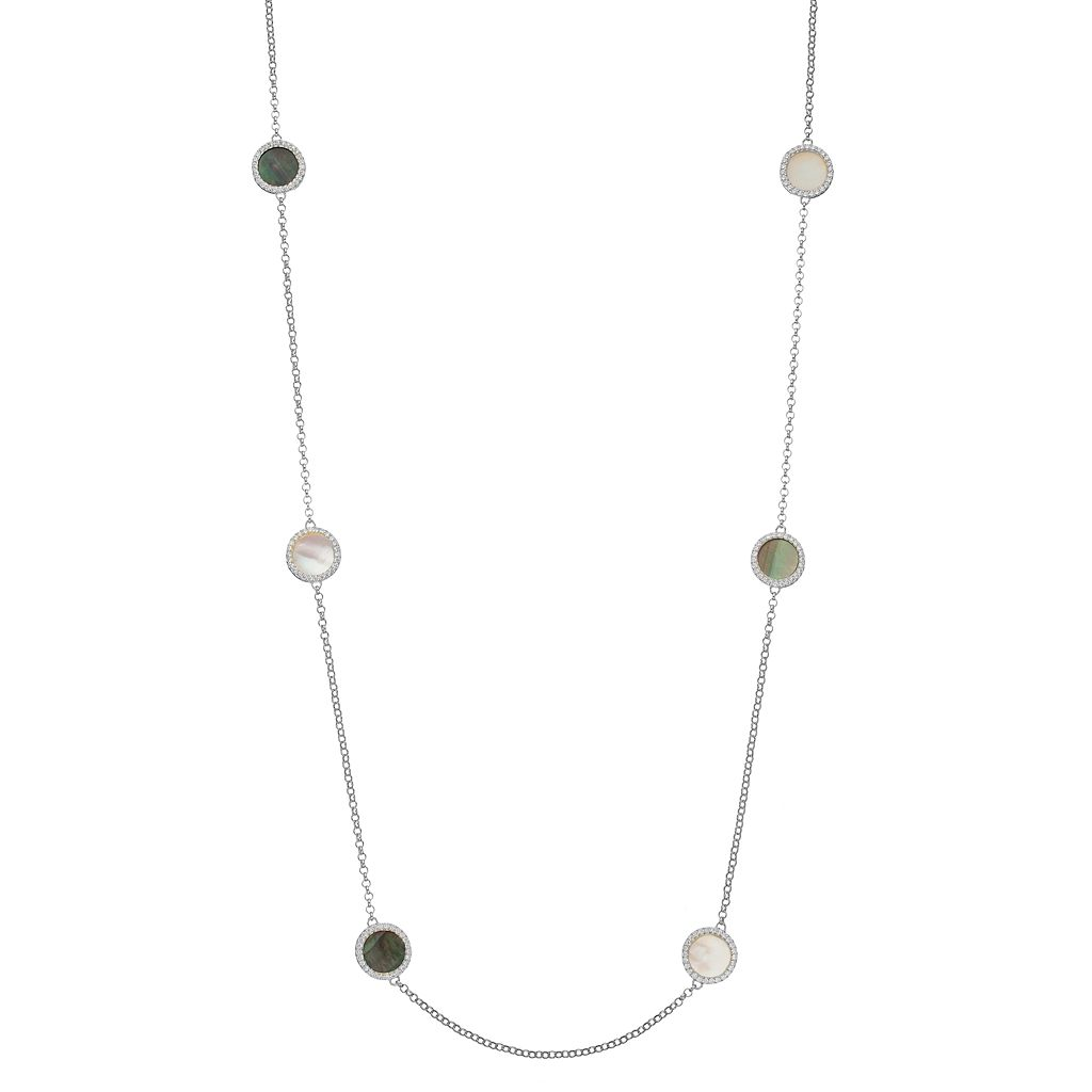 Sterling Silver Gemstone & Cubic Zirconia Halo Long Necklace