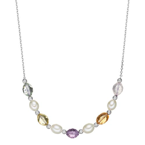 Sterling Silver Gemstone Beaded Necklace