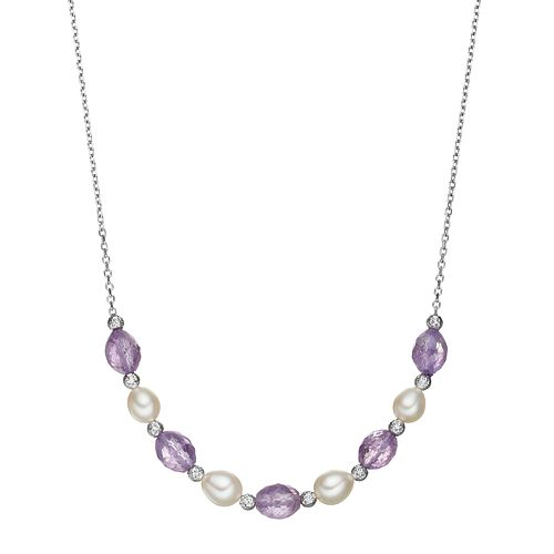 Sterling Silver Amethyst & Freshwater Cultured Pearl Beaded Necklace