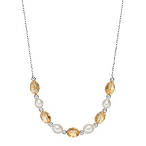 Sterling Silver Citrine & Freshwater Cultured Pearl Beaded Necklace