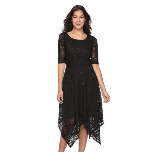 Women's Ronni Nicole Handkerchief Lace Fit & Flare Dress