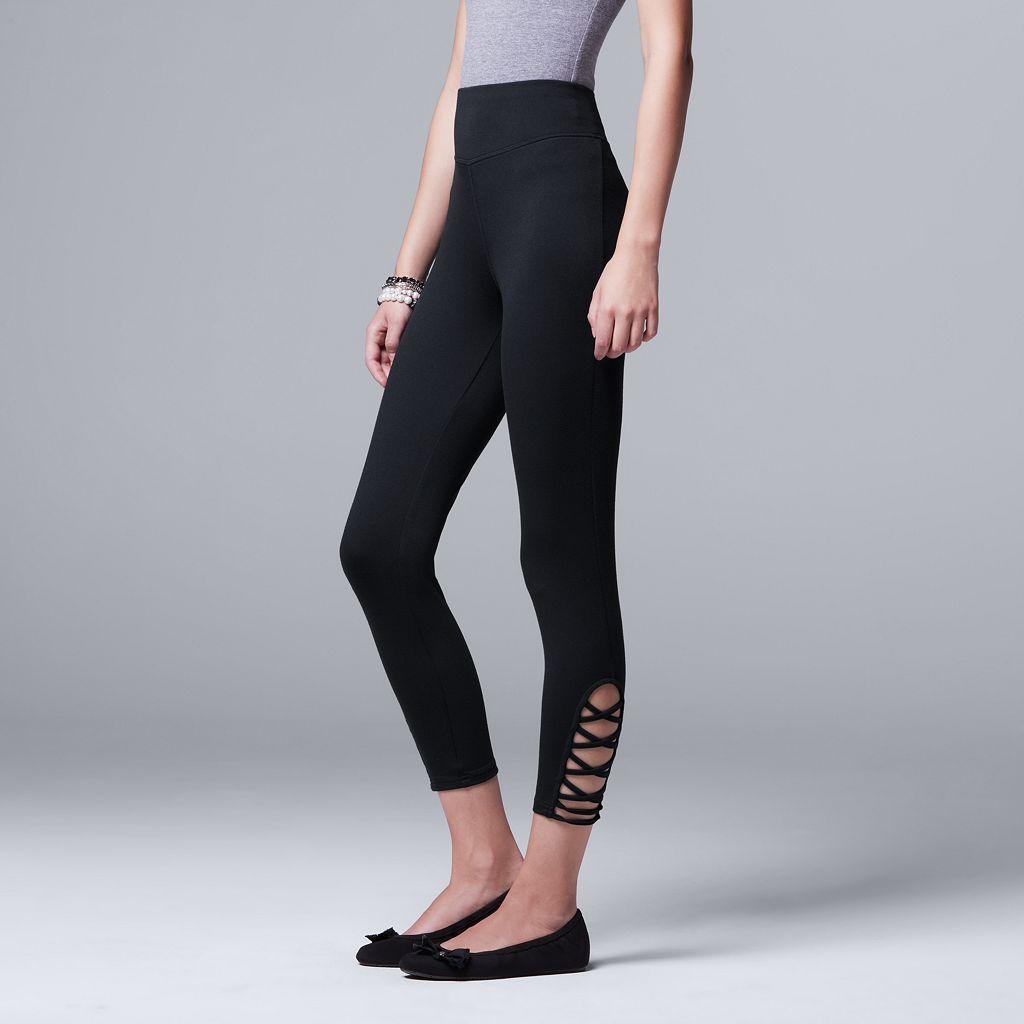 Women's Simply Vera Vera Wang Soft Stretch Lace-Up Skimmer Leggings