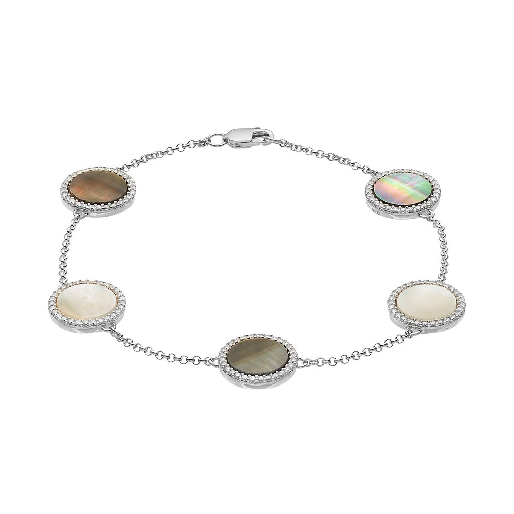 Sterling Silver Abalone, Mother-of-Pearl & Cubic Zirconia Halo Station Bracelet
