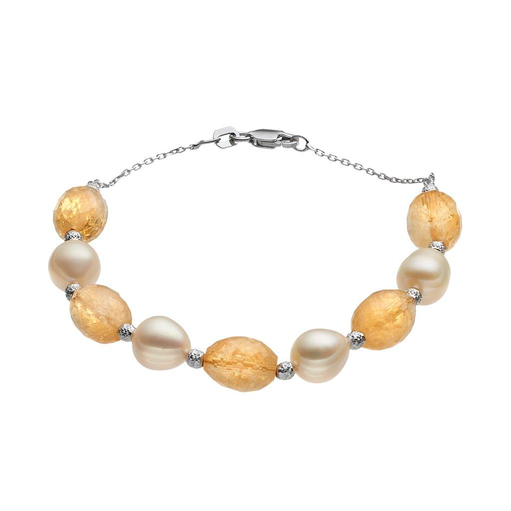 Sterling Silver Citrine & Freshwater Cultured Pearl Beaded Bracelet