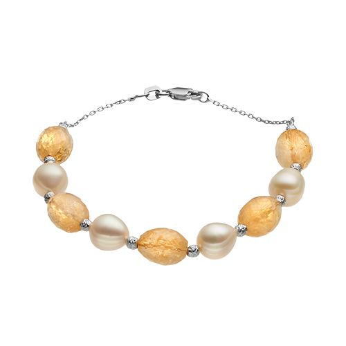 Sterling Silver Citrine & Freshwater Cultured Pearl Beaded Bracelet
