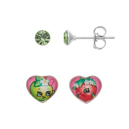 Shopkins Kids' Crystal Stud Earring Set