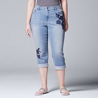 Plus Size Simply Vera Vera Wang Embroidered Capri Jeans