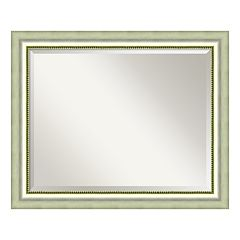 Amanti Art Vegas Burnished Silver Finish Large Wall Mirror