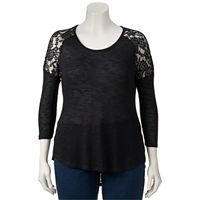 Juniors' Plus Size Candie's Lace High-Low Top
