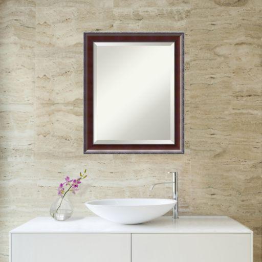 Amanti Art Country Walnut Finish Medium Wall Mirror