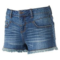 Juniors' Mudd® High Waist Drop Yoke Jean Shortie Shorts