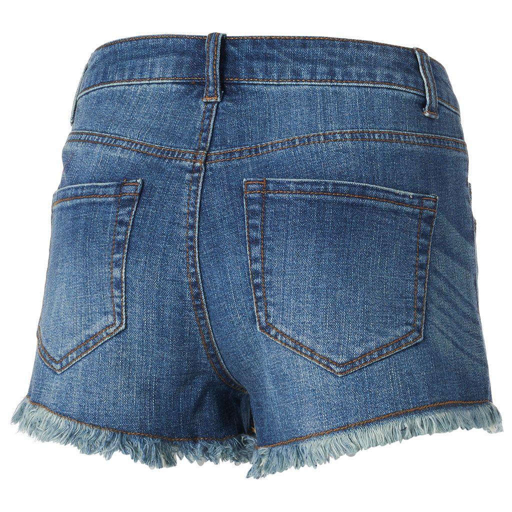 Juniors' Mudd® High Waist Drop Yoke Jean Shortie Shorts