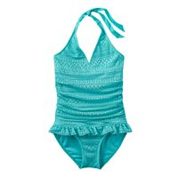 Girls 4-16 SO® Blue Crocheted Halter One-Piece Swimsuit