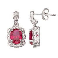 RADIANT GEM Sterling Silver Lab-Created Ruby Halo Drop Earrings