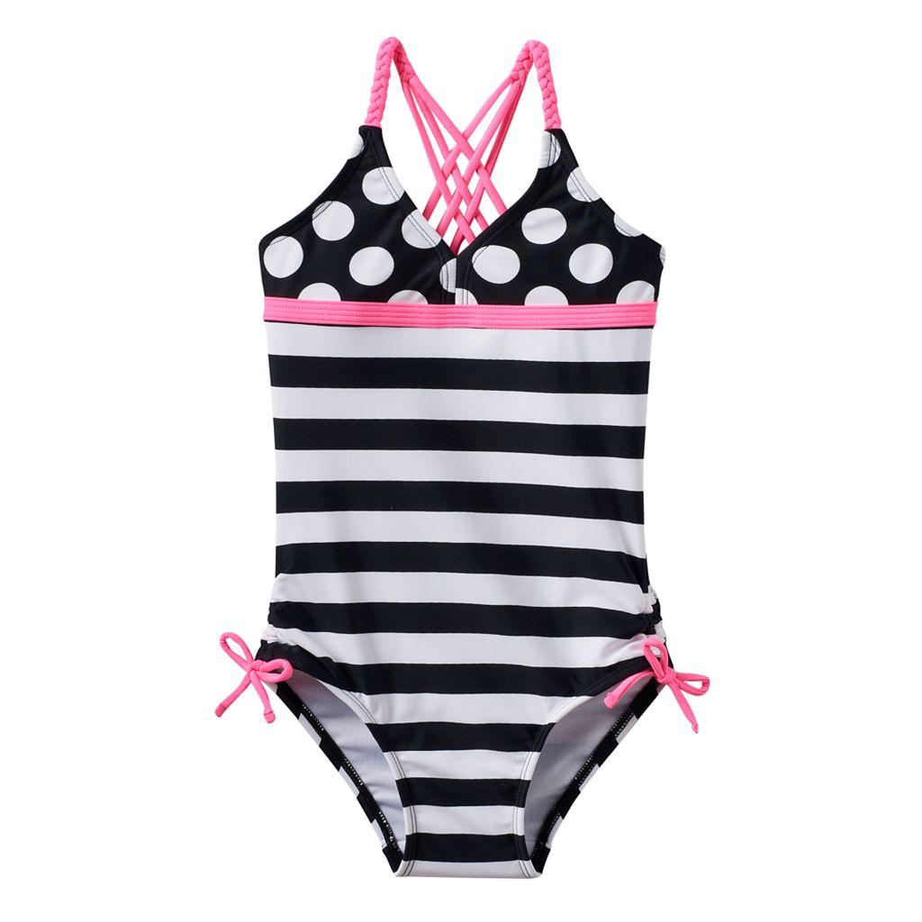 Girls 4-16 SO® Polka-Dots & Stripes Braided Strap One-Piece Swimsuit