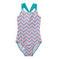 Girls 4-16 SO® Rainbow Chevron Pattern Racerback One-Piece Swimsuit