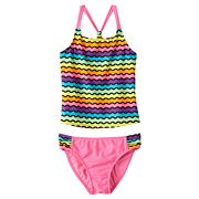 Girls 4-16 SO® Rainbow Waves 2 pc Racerback Tankini Swimsuit Set