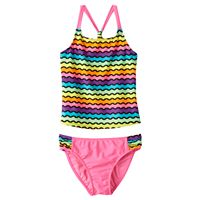 Girls 4-16 SO® Rainbow Waves 2-pc. Racerback Tankini Swimsuit Set