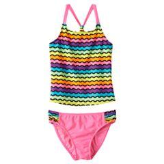 Girls 4-16 SO® Rainbow Waves 2 pc Racerback Tankini Swimsuit Set