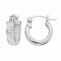 Silver Luxuries Silver Plated Crystal Inside Out Hoop Earrings