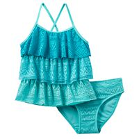 Girls 4-16 SO® Ombre Tiered Crochet 2-pc. Tankini Swimsuit Set