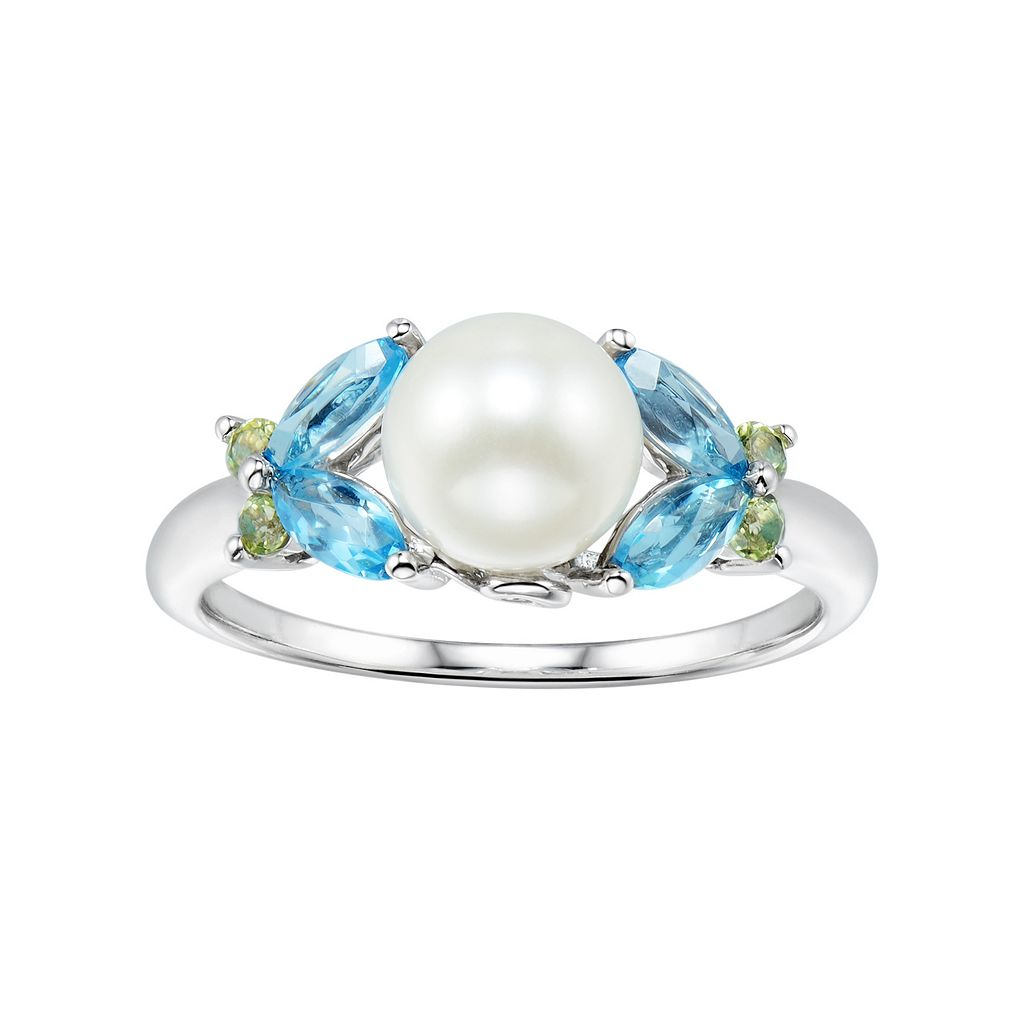 Sterling Silver Freshwater Cultured Pearl & Gemstone Butterfly Ring