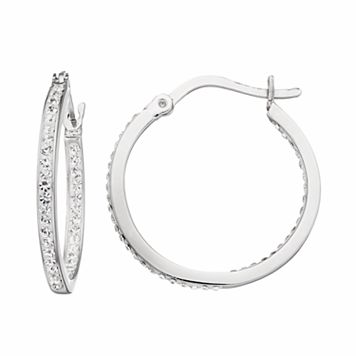 Silver Luxuries Silver Plated Crystal Inside Out Hoop Earrings