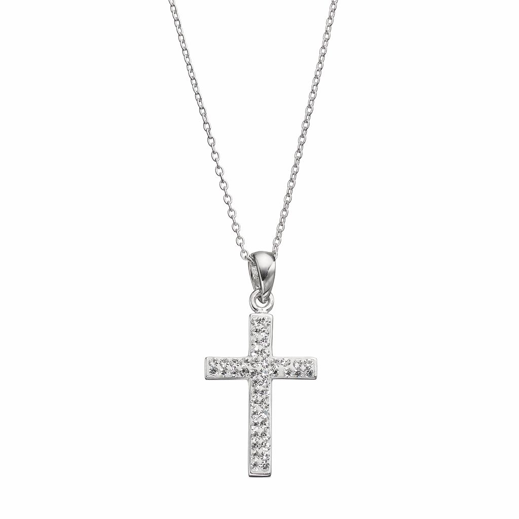 Silver Luxuries Crystal Cross Pendant Necklace