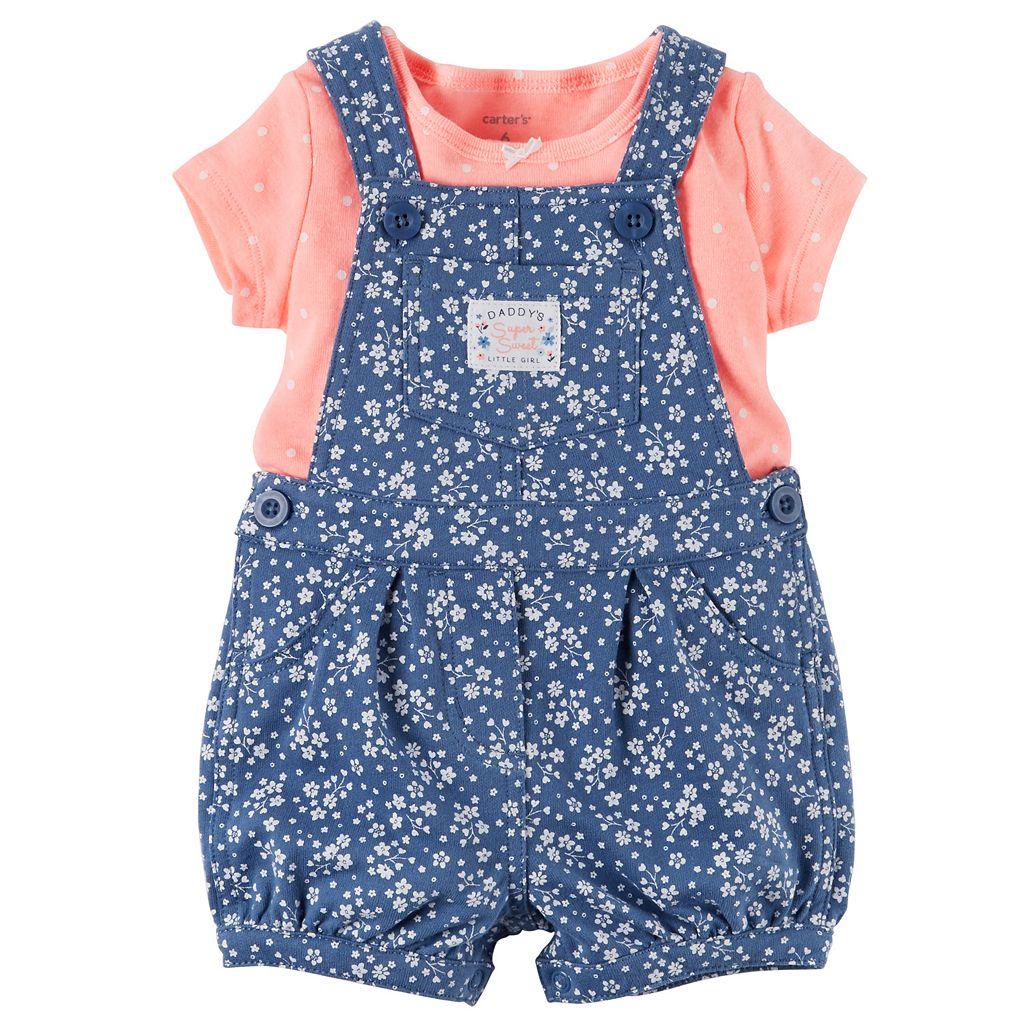 Baby Girl Carter's Polka-Dot Tee & Floral Shortalls Set