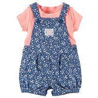 Baby Girl Carter's Polka-Dot Tee & Floral Shortalls Set