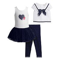 Toddler Girl Youngland Popover Sailor Top, Knit Dress & Polka-Dot Leggings Set