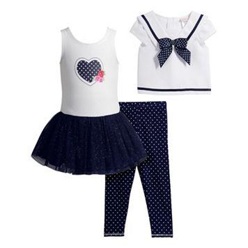 Toddler Girl Youngland Popover Sailor Top, Knit Dress & Polka-Dot Leggings Set