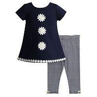 Toddler Girl Youngland Flower Applique Woven Mini Dress & Striped Leggings Set
