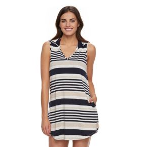 Women's Portocruz Striped Hooded Cover-Up