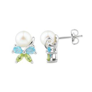 Sterling Silver Freshwater Cultured Pearl & Gemstone Butterfly Stud Earrings