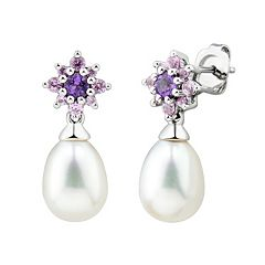 Sterling Silver Freshwater Cultured Pearl & Gemstone Flower Stud Earrings