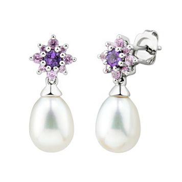 Sterling Silver Freshwater Cultured Pearl & Gemstone Flower Stud Earrings