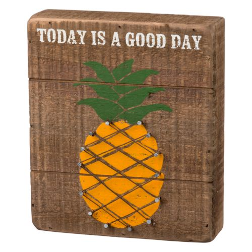 """Today Is A Good Day"" Pineapple String Box Sign Art"