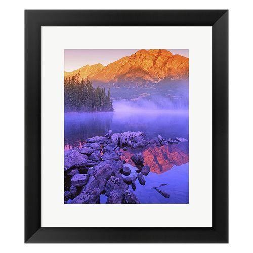Metaverse Art Mountain Reflection Purple Fog Framed Wall Art