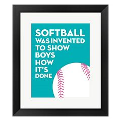 Metaverse Art Blue 'Softball' Framed Wall Art