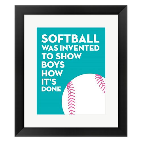 "Metaverse Art Blue ""Softball"" Framed Wall Art"