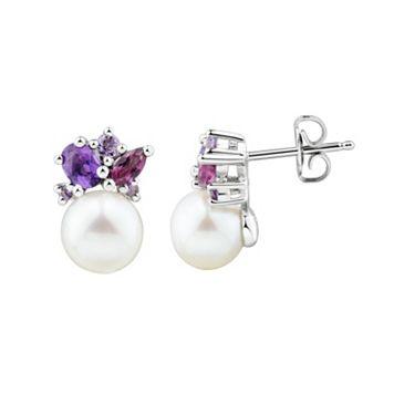 Sterling Silver Freshwater Cultured Pearl & Gemstone Cluster Stud Earrings