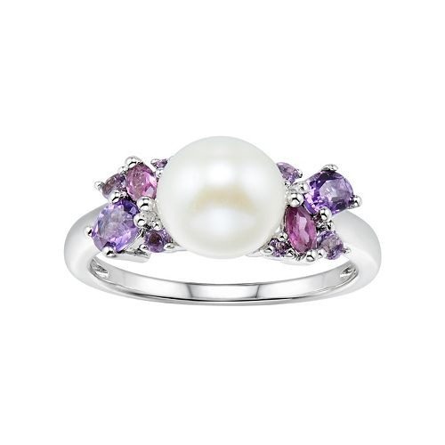Sterling Silver Freshwater Cultured Pearl & Gemstone Cluster Ring