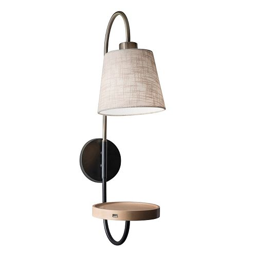 Adesso Jeffrey USB Charging Station Wall Lamp
