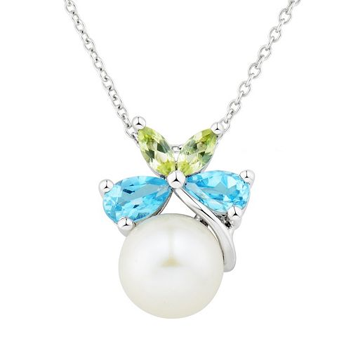 Sterling Silver Freshwater Cultured Pearl & Gemstone Butterfly Pendant